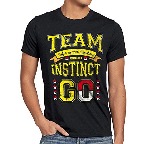 style3 Team Gelb Instinct Herren T-Shirt Intuition Instinkt, Farbe:Schwarz, Größe:4XL