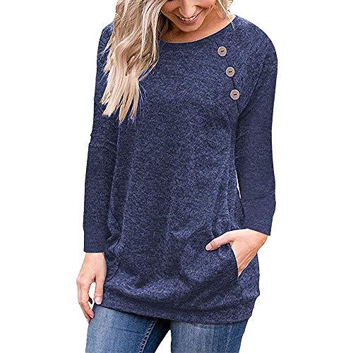 Camiseta de Manga Larga para Mujer con Bolsillo Botón Design Blusa Camisa Cuello Redondo Basica Camiseta Tops Otoño Casual T-Shirt Sudaderas (2XL, Azul Marino)