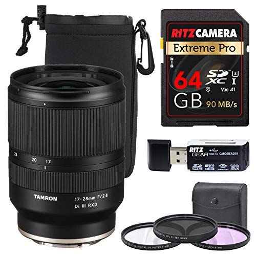 Tamron 17-28mm f/2.8 Di III RXD Lens for Sony E-Mount with Lens Case, Memory Card, Filter Kit and More