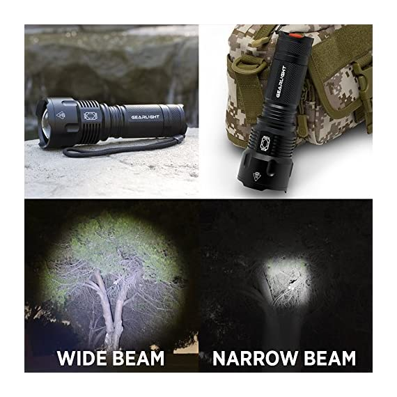 Gearlight high-powered led flashlight s1200 - mid size, zoomable, water resistant, handheld light - high lumen camping… 7 bigger, brighter, better - hold the gearlight in your hand and know you're holding something substantial. With a solid build and blinding brightness, the s1200 outshines the competitions. This mid-size flashlight is big on power but compact enough to fit in your backpack, survival bag, or car glove compartment. Super bright wide beam & long battery life - ultra wide beam effortlessly illuminates a whole room or backyard. It is 12 times brighter than old incandescent lights. Easily lasts for an entire camping trip using 3 standard aa's. Compatible with 18650 or 26650 rechargeable batteries. (batteries are not included) zoomable & multiple lighting modes - adjustable zoom feature allows you to focus in on objects hundreds of feet away or zoom out to sweep a large area. Multiple settings replace the need for different flashlights. Makes for a practical addition to any household or emergency kit.
