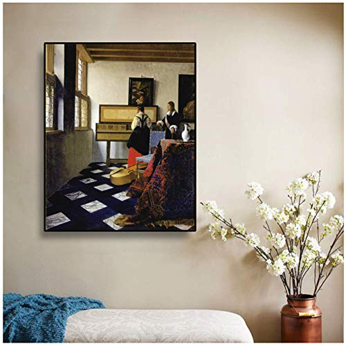 Johannes · Vermeer《De muziekles》Canvaskunst Schilderij Poster Foto Muurdecoratie Modern Huis Woonkamer Decoratie -60x80cm Geen lijst