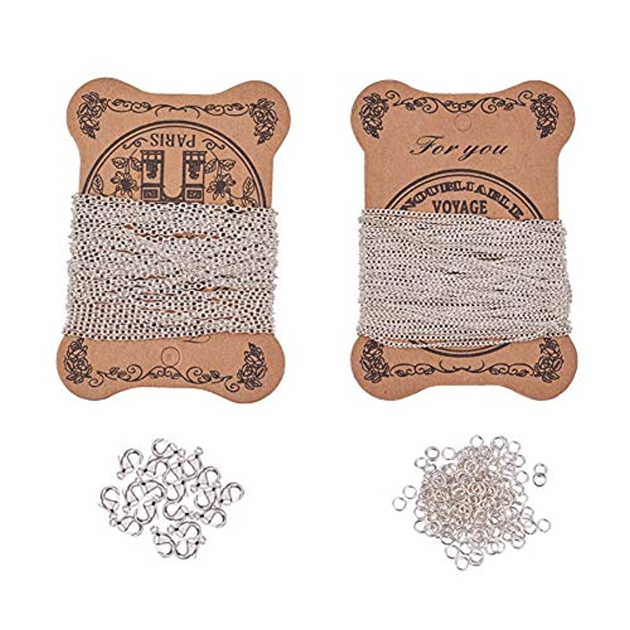 PH PandaHall Silver Necklace Making Set - 5 Yards Iron Twisted Curb Link Cable Chains, 5 Yards Iron Cross Chain, 20pcs Lobster Claw Clasps and 100pcs Jump Rings for Jewelry Making