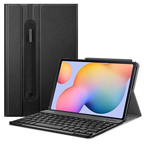 Fintie Tastatur Hülle für Samsung Galaxy Tab S6 Lite 10,4 Zoll SM-P610/ P615 2020 Tablet mit Stifthalter - Ultradünn Keyboard Case mit magnetisch Abnehmbarer drahtloser Deutscher Tastatur, Schwarz