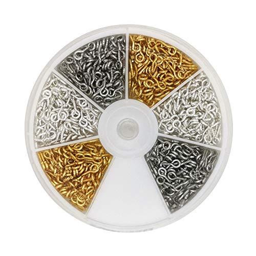 BaiJ Augen Schraubösen,900er Pack Edelstahl Schraubhaken Mini Augenschrauben mit 2mm Loch Ösenstifte Metall Ösenschraube Ringschrauben für Heimwerker Heimprojekte Schmuckherstellung Silber Gold