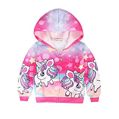LQSZ Sudaderas con Capucha para Niñas Impresión Unicornio