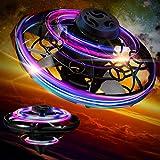 Charnoel Drone Azionato a Mano con Luci LED Piccolo Giocattolo da Esterno Interni Giocattoli di Drone Palla Volante Mini Drone Mani LED per Ragazzi e Ragazze sopra 6 Anni (Nero)