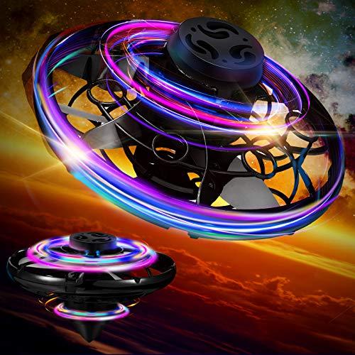 Charnoel Hand Betriebene Drohne mit LED Leuchten Indoor Outdoor Kleine UFO Spielzeug Fliegender Ball Drohne Spielzeug Mini LED Hände Drohne für Jungen und Mädchen über 6 Jahre Alt (Schwarz)