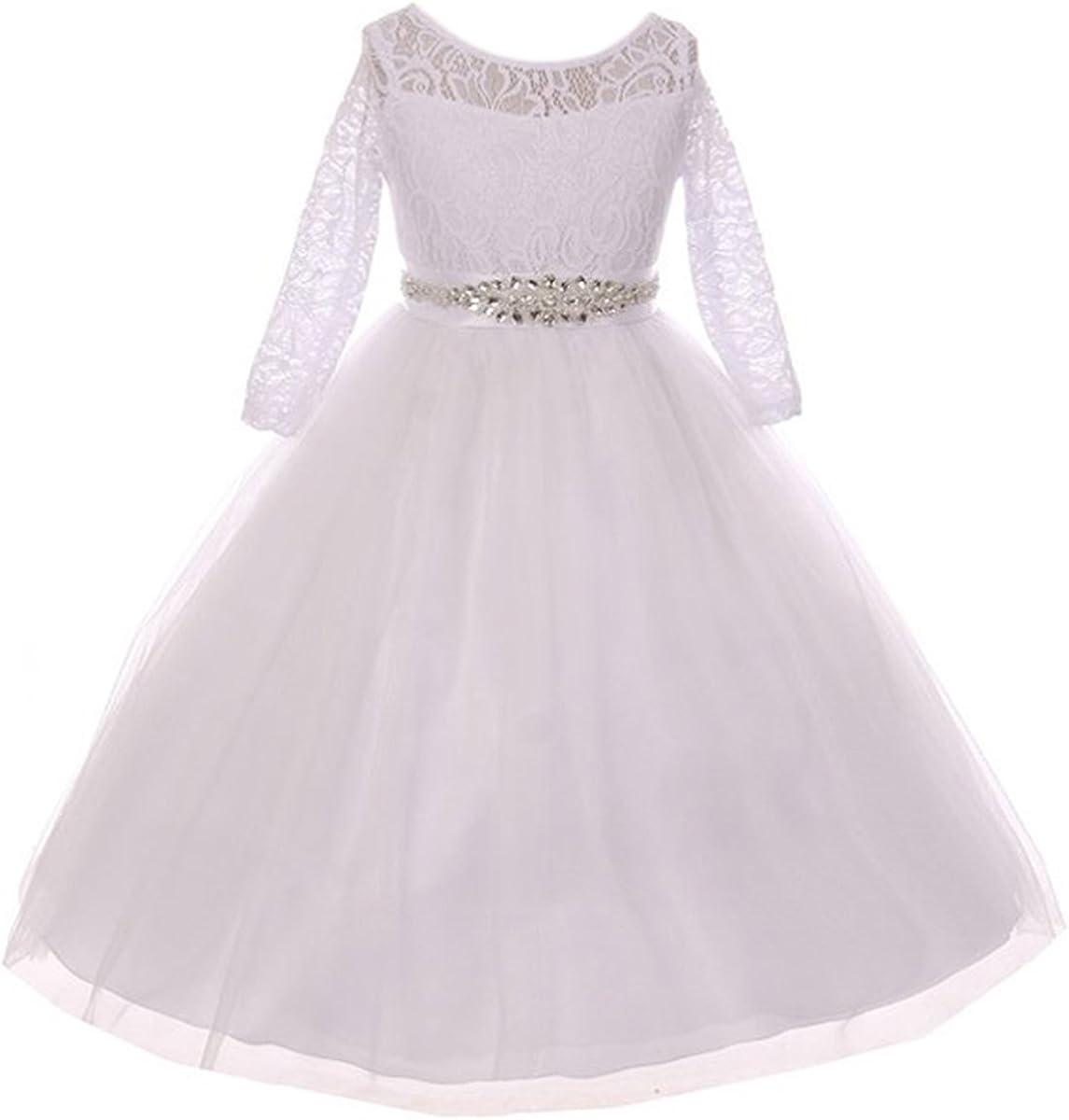 Girls Dress Lace Top Rhinestones Tulle Communion Party Flower Girl Dress 2-20