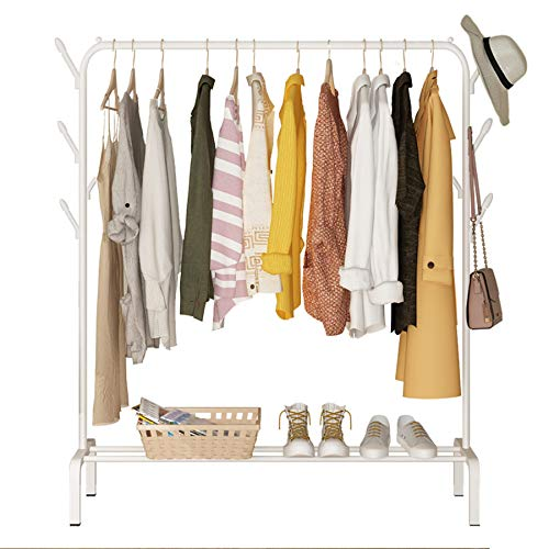YAYI Drying Rack Metal Garment Rack Freestanding Hanger Bedroom Clothing Rack With Lower Storage Shelf for Boxes Shoes And Side Hooks,White