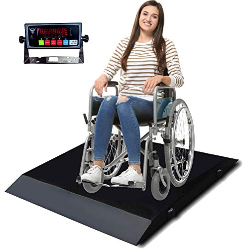 PEC Portable Wheelchair Scale Digital Medical Scales with Handles and Wheels, Dual Ramp for Easy Loading, Capacity 700 x 0.1 lb