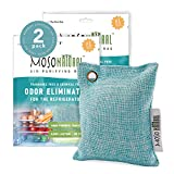 MOSO NATURAL: The Original Air Purifying Bag for Fridge and Freezer.an Unscented, Chemical-Free Odor Eliminator. More Powerful Than Baking Soda. 2 Pack(Blue)