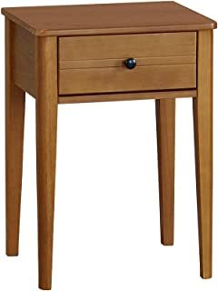 MUSEHOMEINC California Classic Style Wood Tall End Table with Drawer,End Table/Nightstand for Living Room/Bedroom,Black Finish Retro Metal knob,Honey Brown Finish