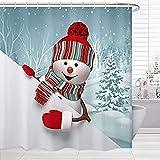 Blauer Weihnachts-Duschvorhang-Stoff, niedlicher Schneemann im schneebedeckten Wald-Druck-Weihnachtsbadevorhang, Winter-Stoff-Badezimmer-Dekor-Set mit Haken,