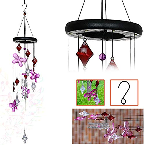 Ashman Wind Chime Pink Flower Musical Tone Wind Chimes with Flower, Tuned Relaxing Melody Gift Decor for Patio, Garden, Home, Balcony