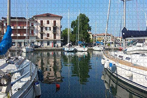 Italia Grado Barcos Puerto Rompecabezas para adultos 1000 piezas Regalo de viaje de madera Recuerdo-Pt-04659