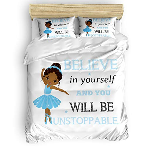 IMUSEN Cute African Ballerina Girl Blue Comforter Set Twin Size 4 Pieces Ultra Soft Breathable Bedding Sets with 1 Comforter Cover 1 Bed Sheets 2 Pillowcases, All Season Lightweight Duvet Cover Set