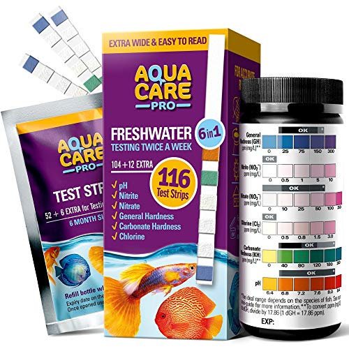 Freshwater Aquarium Test Strips 6 in 1 - Fish Tank Test Kit for Testing pH Nitrite Nitrate Chlorine General & Carbonate Hardness (GH & KH) - Easy to Read Wide Strips & Full Water Testing Guide, 116 Ct
