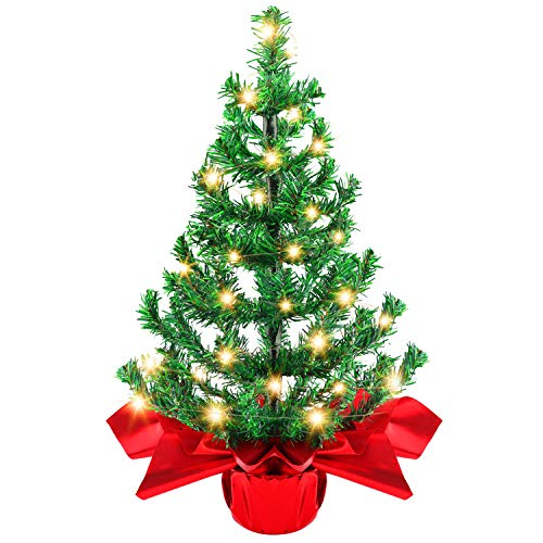 Becoyou Mini Christmas Tree, 2ft Small Christmas Tree with Lights Artificial Tabletop Christmas Tree with 50 Bendable Branches Plant Pot Cloth Ribbon for Home Office Shop Christmas Decorations