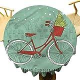 VICWOWONE Mantel de Navidad – Mantel redondo de 40 pulgadas decoración de Navidad Drapability Retro Bike Navidad Árboles