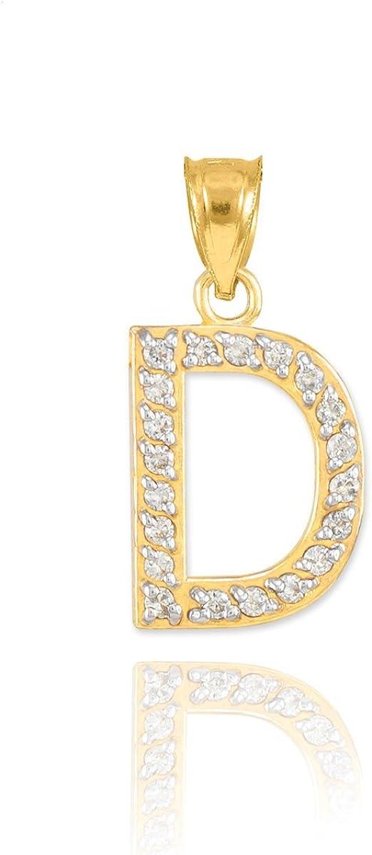 14k Yellow Gold Diamond Alphabet Initial Letter D Charm Pendant
