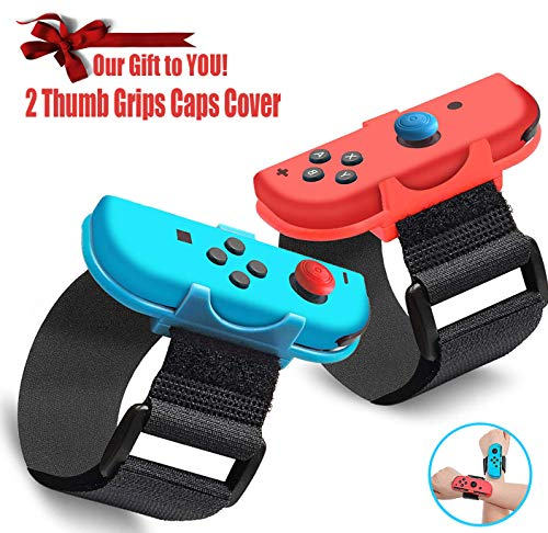 Wrist Bands for Nintendo Switch Just Dance 2020 2019, Adjustable Strap for JoyCon Nintendo Switch Controller Holder and Just Dance Switch Games, (2 in 1 Pack) Arms Switch + 2 Thumb Grips Caps Cover