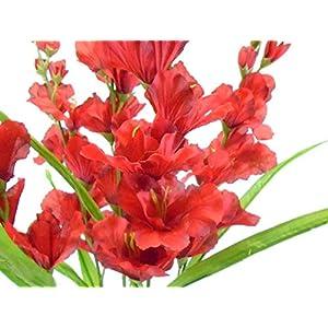 GF Artificial Silk Flowers Gladiolus Bush 26″ Bouquet Red Color MG019