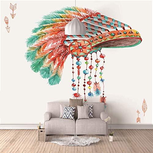 Behang, zelfklevend, olieverfschilderij, wandschilderij, 3D, foto modern art print Indian hoed, thuisdecoratie 300cm(W) x210cm(H)-6 Rayas