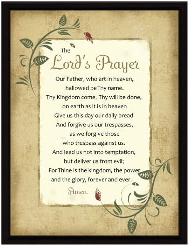 Over item handling ☆ Lord's Prayer Wood Framed Plaque Quote – 6.5