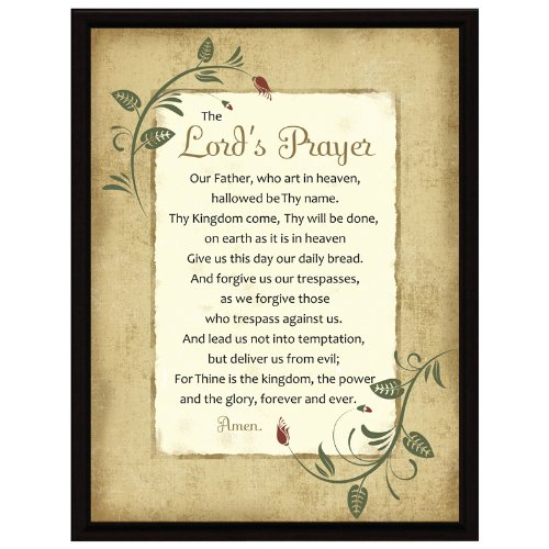 Dexsa Lord's Prayer Wood Frame Plaque with Easel 6.5 inches x 8.5 inches