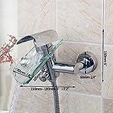 FYMIJJ Set de ducha,Baño cascada lavabo grifo monomando diamante montado en la pared cascada lavabo grifo mezclador con juego de ducha de mano, bañera ducha 1