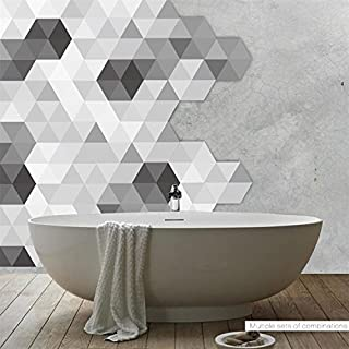 AmazingWall Simple Geometry Wall Sticker Black and White Grey Hexagon Floor Sticker Waterproof DIY Floor Tile 4.53x7.87 10 Pcs/Set
