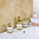 YYYes FacuetGolden pulido 3 unids set bañera diseño europeo baño grifo cubierta montado lujo lavabo mezclador [envío gratis] {oro bañera grifo 1}