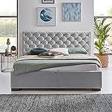 Designer Bett mit Bettkasten ELSA Samt-Stoff Polsterbett Lattenrost Doppelbett Stauraum Holzfuß schwarz (Grau, 180 x 200 cm) - 4