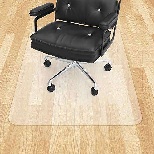 "Office Chair Mat for Hardwood Floor VPCOK Plastic Floor Mat for Office Chair Wood Floor 47"" x 35"" Plastic Office Chair Mat for Tile Floor Unique Design High Impact Strength Upgraded Version"