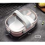 Yenyuy ステンレス鋼のふた付き弁当箱 フレッシュボックス食品保存容器保冷ランチボックスシンプルな 大容量コンパートメント、ポータブル