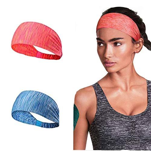 Simsly Bandeaux de sport Boho Bandeau élastique pour cheveux avec bandeau de yoga pour la course à pied, femmes et filles. (Bleu)