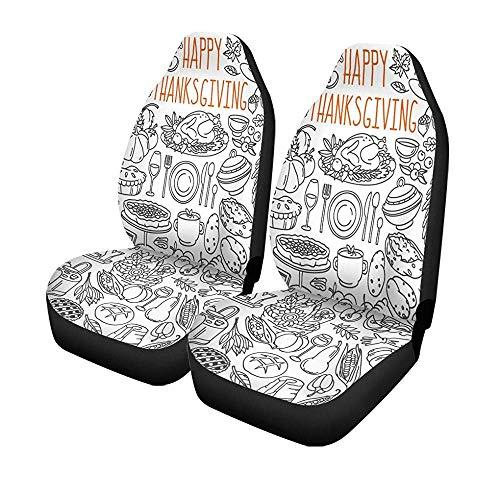 Beth-D 2 stoelhoezen voor auto, Thanksgiving Doodles traditioneel symbool, voor levensmiddelen en dranken, turquoise, pompoen, universeel, voor auto, voorstoelen, bescherming tegen stoelen, 14 - 17 inch