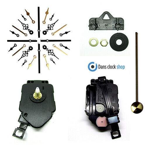 Komplettes Uhrwerkset für Quarz-Pendeluhr mit schwarzen Metallzeigern, für Do-it-Yourself-Uhrmacher, schwarz, 130mm Black Hands