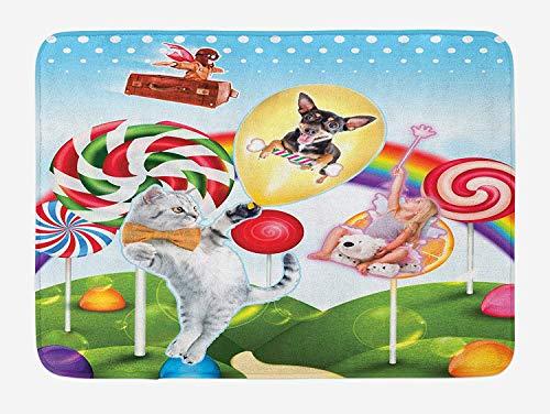 Casepillows Kids Badmat, Kleurrijke Fantasie Land Regenboog Snoepbomen Kat Hond Fee Meisje Jongen Vliegen in Koffer, Pluche Badkamer Decor Mat met Niet Slip Backing, 23,6 x 15,7 Inch, Multi kleuren