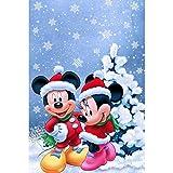 Kit de herramientas de pintura de bordado de diamantes de imitación 5D, con diamantes redondos fabricación/para decoración de pared-Navidad Mickey y Minnie 12X16inch