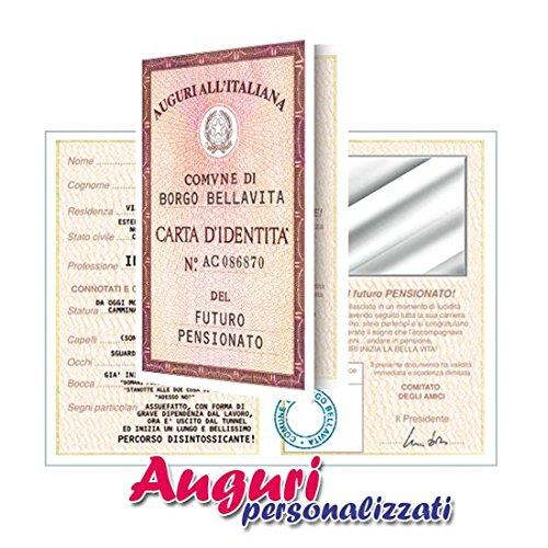 Bombo Biglietto Auguri Carta D'Identità Pensionato