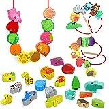 Sinwind fädelspiel, 42 STK Holzperlen einfädeln motorikspielzeug Montessori Spielzeug Pädagogisches Holzspielzeug, Geeignet für Geburtstagsgeschenke für Jungen und Mädchen von 2 bis 6 Jahren