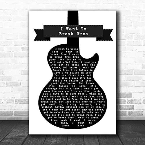 Ik wil breken gratis zwart & wit gitaar lied lyrische citaat muziek poster print Large A3