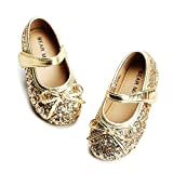 Felix & Flora Bear Mall Girls' Shoes Girl's Ballerina Flat Shoes Mary Jane Dress Shoes (Little/Toddler Girls Shoes/Big Kids)(9 Toddler, Glitter Gold)