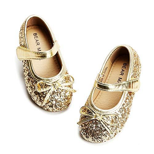 Felix & Flora Bear Mall Girls' Shoes Girl's Ballerina Flat Shoes Mary Jane Dress Shoes (Little/Toddler Girls Shoes/Big Kids)(9 Toddler, Glitter Gold)