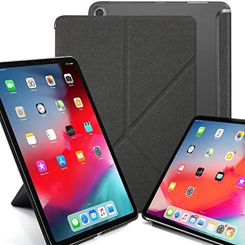 KHOMO iPad Pro 12.9 2018 Smart Cover Schutzhülle mit Halbdurchsichtiger Silikonrückseite und Origami Aufstellungsmöglichkeiten - Grau