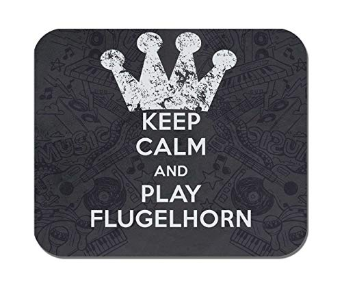 Makoroni - Keep Calm and Play Flugelhorn - Non-Slip Rubber - Computer, Gaming, Office Mousepad