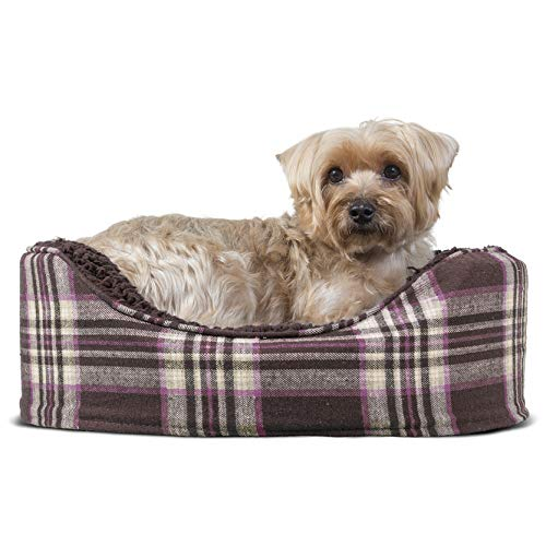 Furhaven Pet Bed for Dogs and Cats - Sherpa and Plaid Flannel Oval Cuddler Dog Bed with Removable Washable Cover and Pillow Cushion, Java Brown, Small