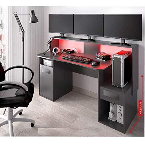 HABITMOBEL Gran Mesa Gamers Escritorio Mueble Oficina o Gaming, Ancho 153,5cm Grafito con ILUMINACION Leds