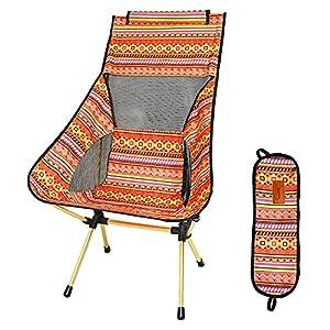 DesertFox アウトドアチェア 折りたたみ 超軽量【ハイバック】【耐荷重150kg】コンパクト イス 椅子 収納袋付属 お釣り 登山 携帯便利 キャンプ椅子 0018 (orange/ハイバック)